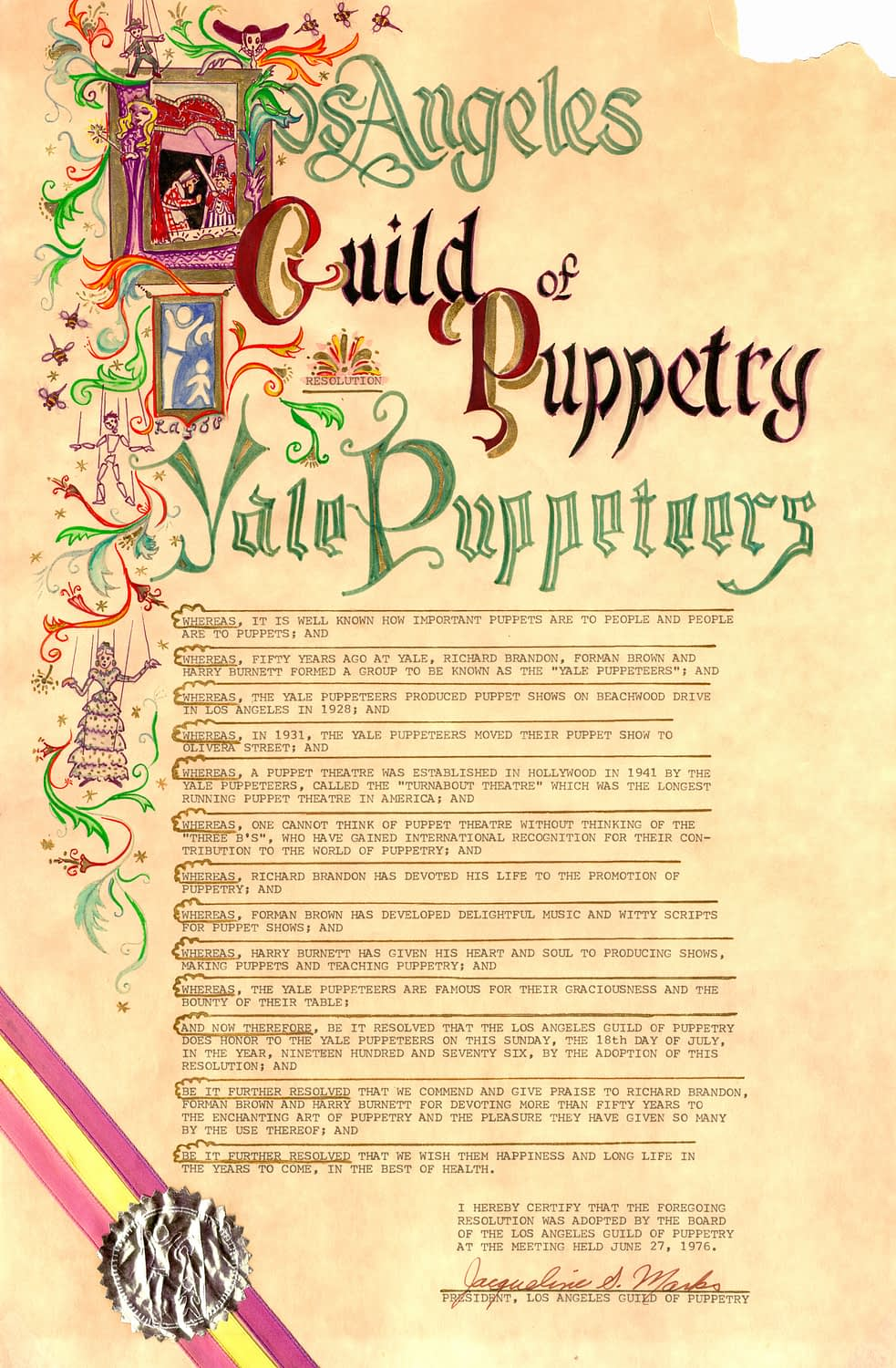 Los Angeles Guild of Puppetry Proclamation Certificate