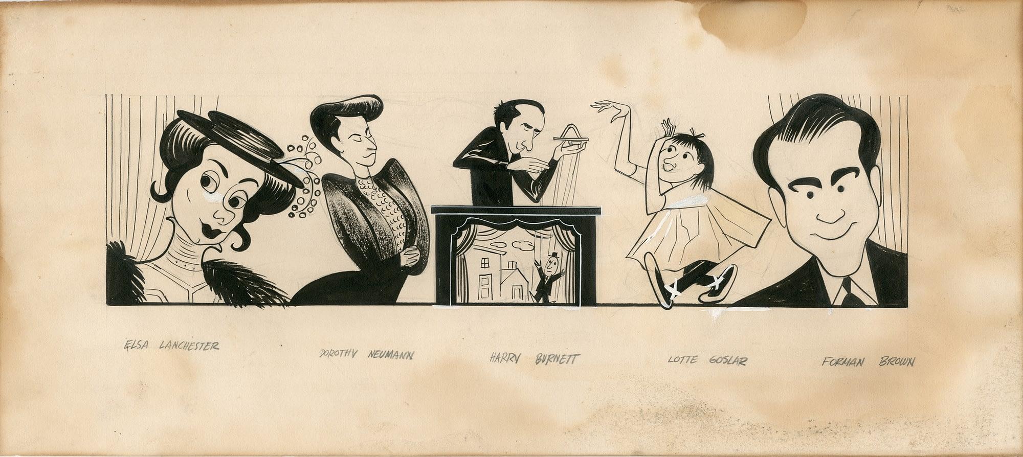 Original Artwork of Elsa Lanchester, Dorothy Neumann, Harry Burnett, Lotte Goslar, and Forman Brown