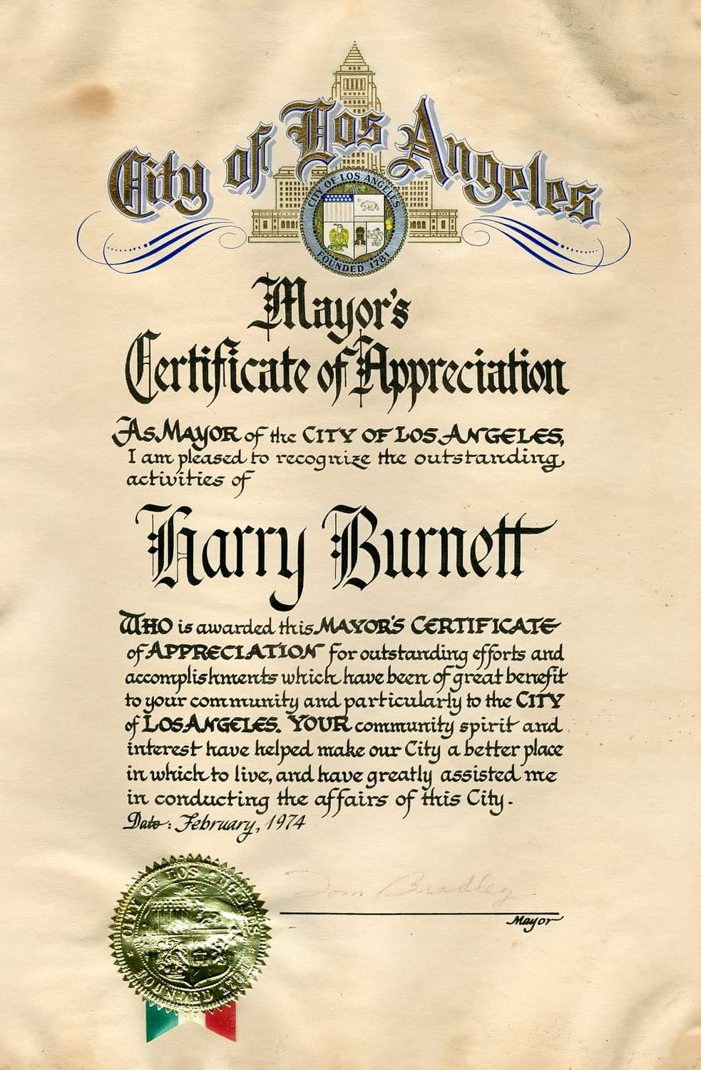 City of Los Angeles Certificate of Appreciation signed by Mayor Tom Bradley to Harry Burnett