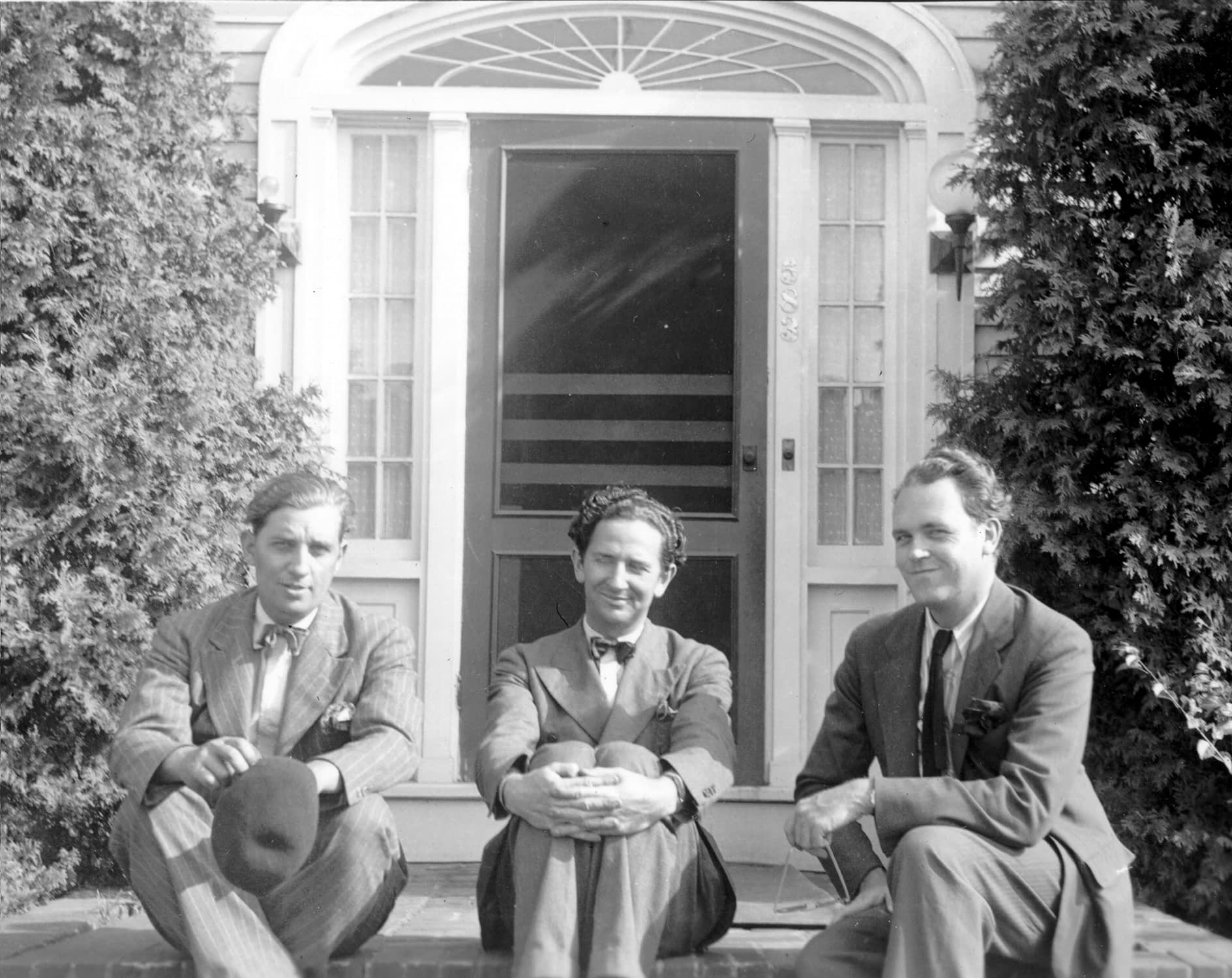 "Harry Burnett, Forman Brown, and Richard ""Roddy"" Brandon pose in front of the Turnabout Theater"