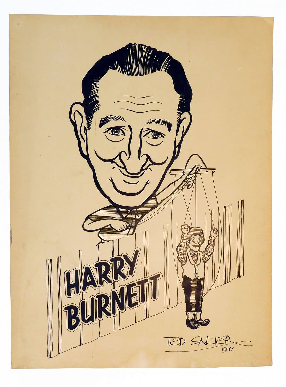 Artwork of Harry Burnett with Uncle Tom's Hebb'n puppet signed by artist, Ted Slater
