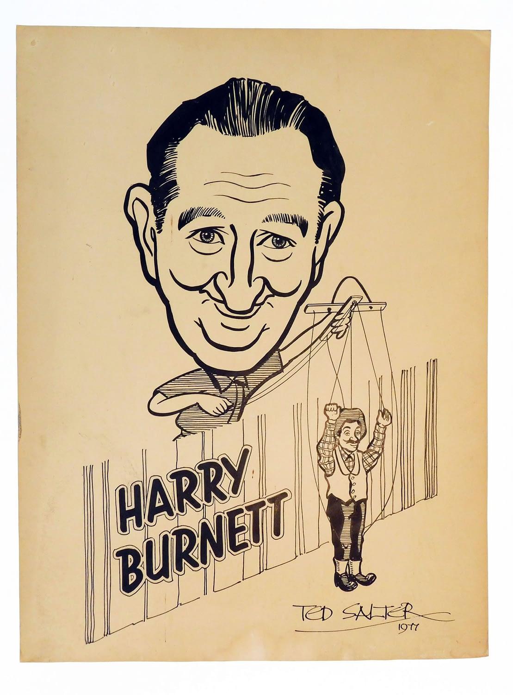 Artwork of Harry Burnett with Uncle Tom's Hebb'n puppet signed by artist, Ted Slater