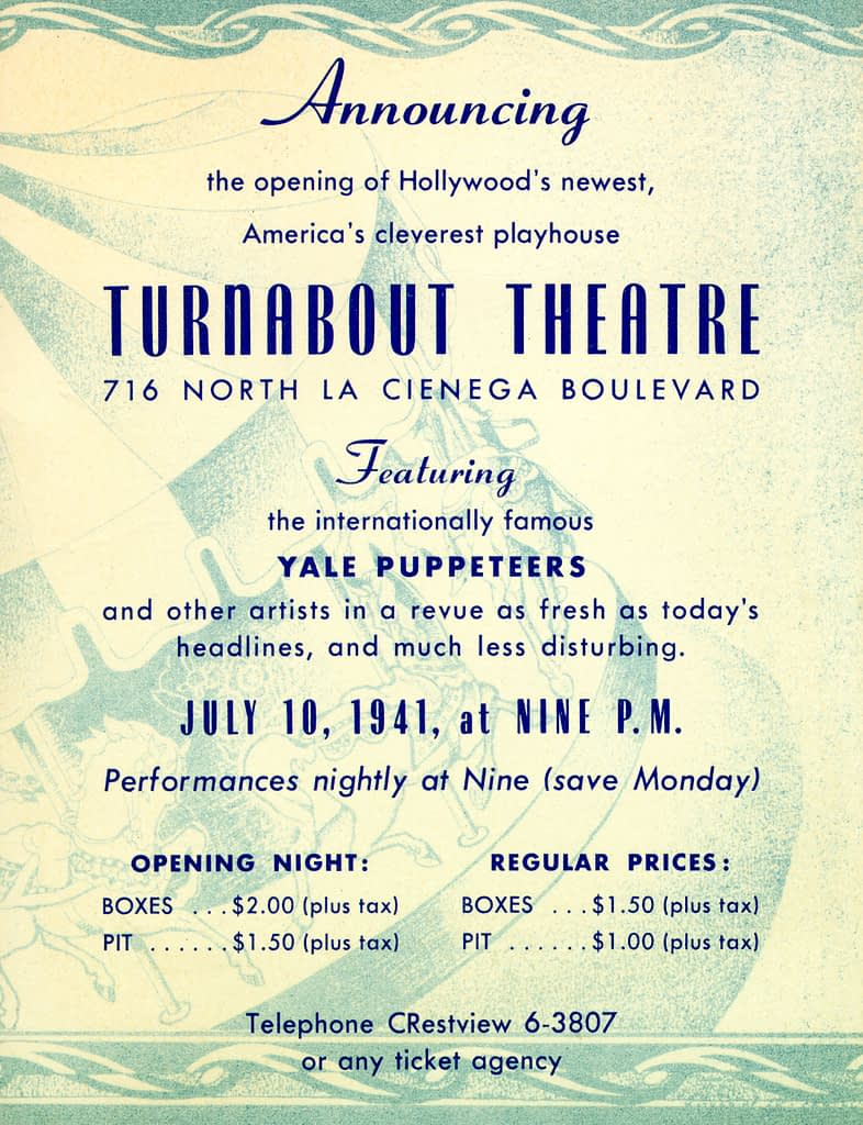 Yale Puppeteers Turnabout Theatre Opening Announcement on cardstock