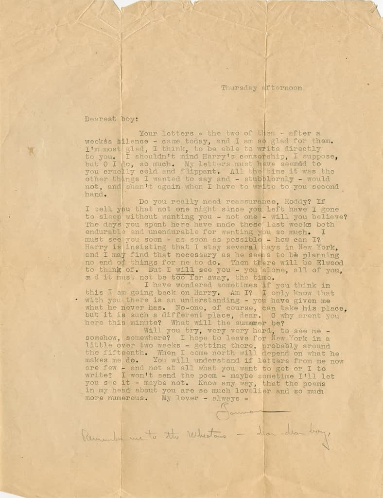 "Typed letter from Forman Brown Letter to Richard ""Roddy"" Brandon"