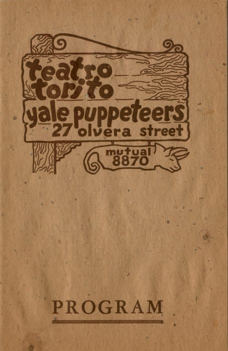 Program Cover of 1931 Treatro Torito