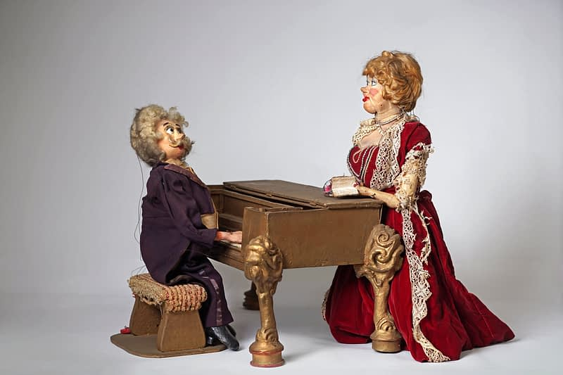 Opera Singer and Pianist Marionettes Used in Traveling Tour